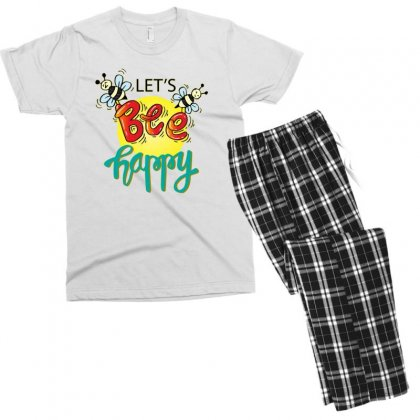 Lets Bee Happy Men's T-shirt Pajama Set Designed By Disgus_thing