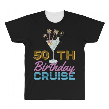 50th Birthday Cruise All Over Men's T-shirt Designed By Omer Acar