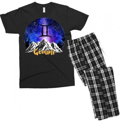 Gemini Zodiac Men's T-shirt Pajama Set Designed By Omer Acar