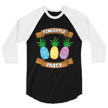 Pineapple Party 3/4 Sleeve Shirt Designed By Wizarts