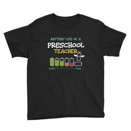 Battery Life Of A Preschool Teacher Youth Tee Designed By Wizarts