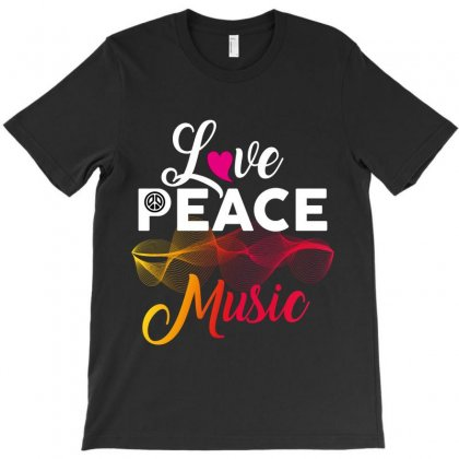 Love Peace Music T-shirt Designed By Wizarts