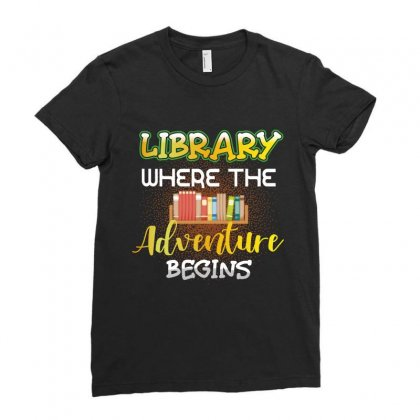 Library Where The Adventure Begins Ladies Fitted T-shirt Designed By Wizarts