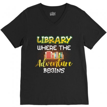 Library Where The Adventure Begins V-neck Tee Designed By Wizarts