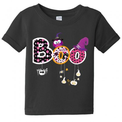 Boo Halloween Costume Spiders, Ghosts, Pumkin & Witch Hat Baby Tee Designed By Vanitty