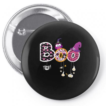Boo Halloween Costume Spiders, Ghosts, Pumkin & Witch Hat Pin-back Button Designed By Vanitty