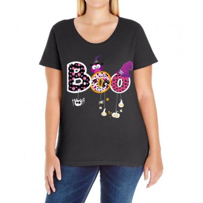 Boo Halloween Costume Spiders, Ghosts, Pumkin & Witch Hat Ladies Curvy T-shirt Designed By Vanitty