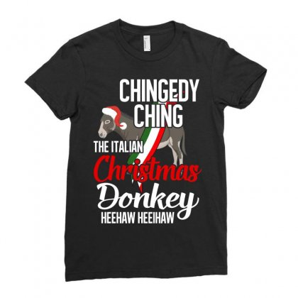 Dominick The Christmas Donkey, Italian Christmas Donkey, Merry Christm Ladies Fitted T-shirt Designed By Badaudesign