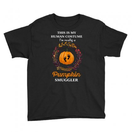 This Is My Human Costume I'm Really A Pumpkin Smuggler Youth Tee Designed By Wizarts