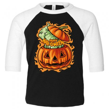 Happy Halloween Toddler 3/4 Sleeve Tee Designed By Wizarts