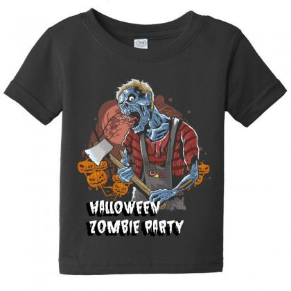 Halloween Zombie Party Baby Tee Designed By Wizarts