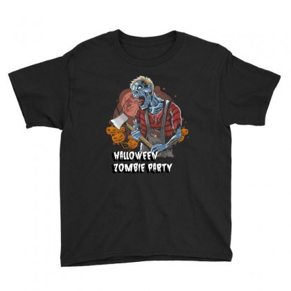 Halloween Zombie Party Youth Tee Designed By Wizarts