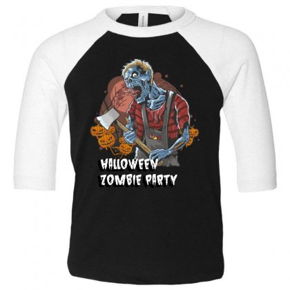Halloween Zombie Party Toddler 3/4 Sleeve Tee Designed By Wizarts