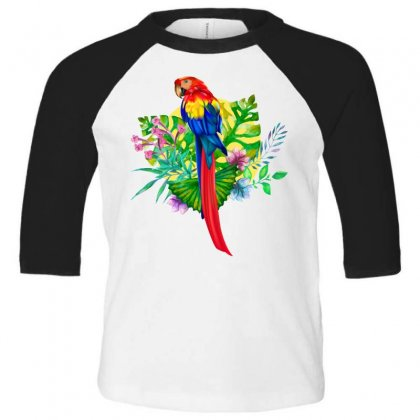 Colorful Macaw Toddler 3/4 Sleeve Tee Designed By Tiococacola
