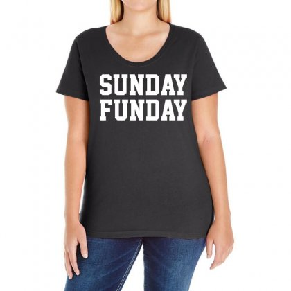 Sunday Funday Party Funny Tee Ladies Curvy T-shirt Designed By Teeshop