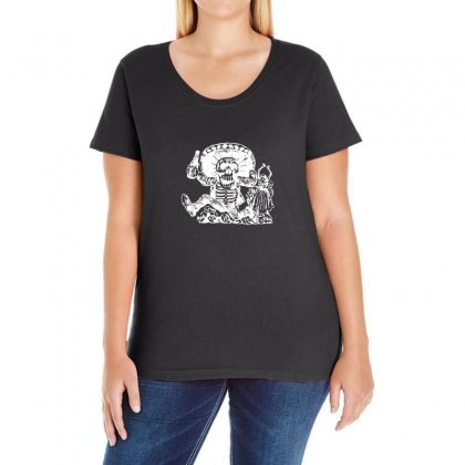 Day Of The Dead Ladies Curvy T-shirt Designed By Funtee