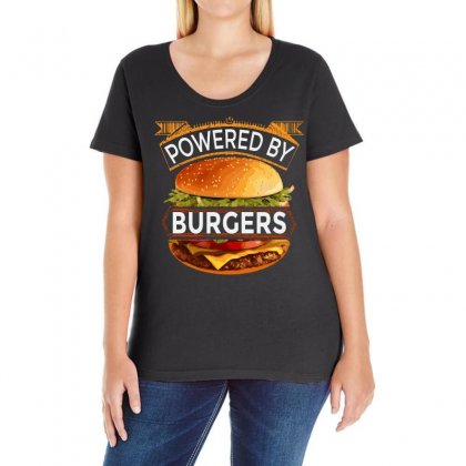 Powered By Burgers Ladies Curvy T-shirt Designed By Asayem