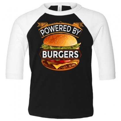Powered By Burgers Toddler 3/4 Sleeve Tee Designed By Asayem