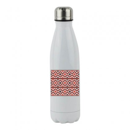 Folklore Ethnic Pattern Background Stainless Steel Water Bottle Designed By Salmanaz
