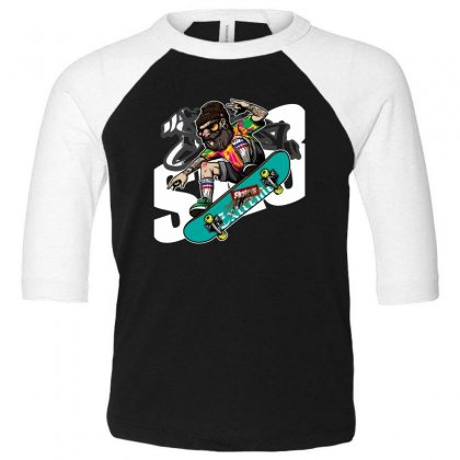 Skaters Toddler 3/4 Sleeve Tee Designed By Disgus_thing
