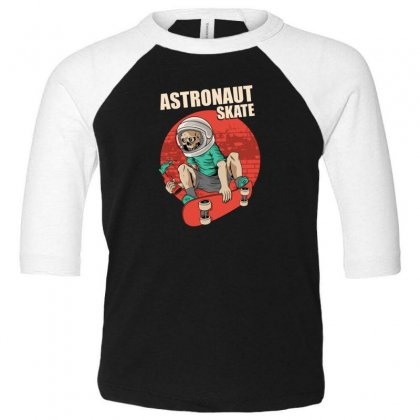 Astronaut Skate Toddler 3/4 Sleeve Tee Designed By Disgus_thing
