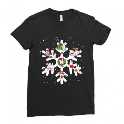 Bunny Christmas Snowflakes Ladies Fitted T-shirt Designed By Hoainv