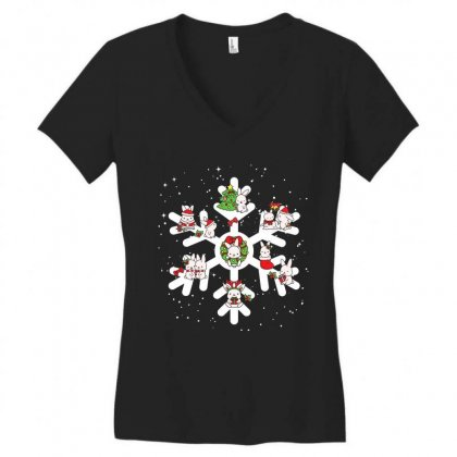 Bunny Christmas Snowflakes Women's V-neck T-shirt Designed By Hoainv