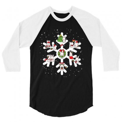 Bunny Christmas Snowflakes 3/4 Sleeve Shirt Designed By Hoainv