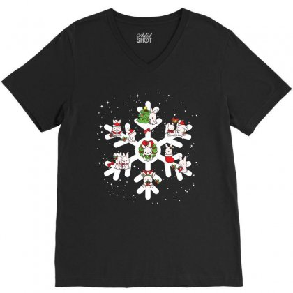 Bunny Christmas Snowflakes V-neck Tee Designed By Hoainv