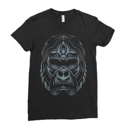 Abstract Gorilla Face Ladies Fitted T-shirt Designed By Teeshop