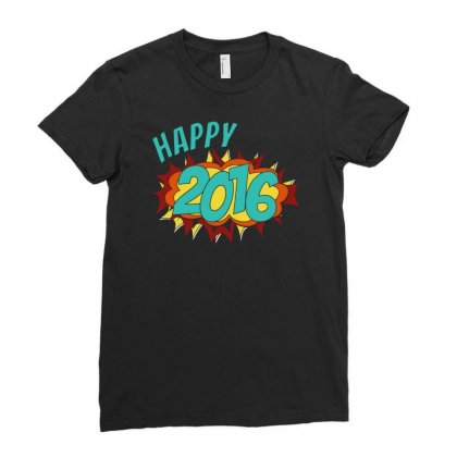 Happy 2016 New Year Ladies Fitted T-shirt Designed By Teeshop