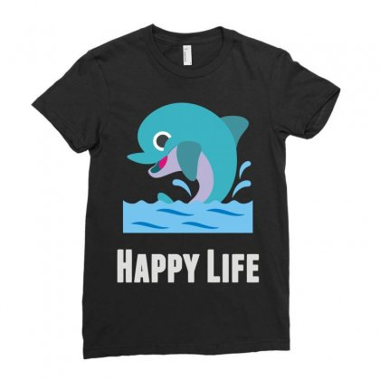Happy Life (2) Ladies Fitted T-shirt Designed By Teeshop