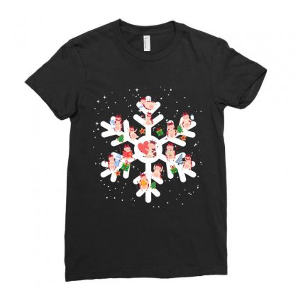 Cows Farm Animals In Christmas Snowflakes Christmas Gift Ladies Fitted T-shirt Designed By Hoainv