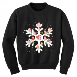 Cows Farm animals in Christmas Snowflakes Christmas Gift Youth Sweatshirt | Artistshot