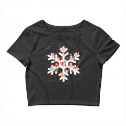Cows Farm animals in Christmas Snowflakes Christmas Gift Crop Top | Artistshot