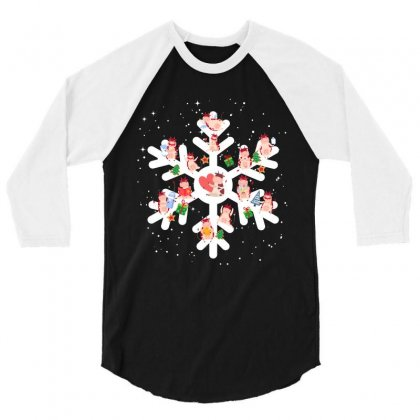 Cows Farm Animals In Christmas Snowflakes Christmas Gift 3/4 Sleeve Shirt Designed By Hoainv