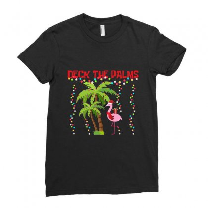 Deck The Palms Flamingo Merry Christmas Gag Gift Ladies Fitted T-shirt Designed By Hoainv