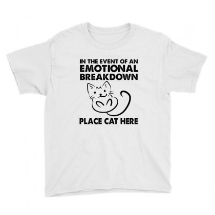 In The Event Of An Emotional Breakdown Place Cat Here Youth Tee Designed By Hoainv