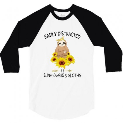 Easily Distracted By Sunflowers And Sloths 3/4 Sleeve Shirt Designed By Hoainv