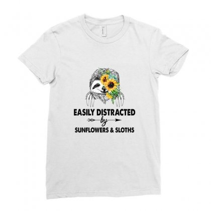 Easily Distracted By Sunflowers And Sloths Ladies Fitted T-shirt Designed By Hoainv