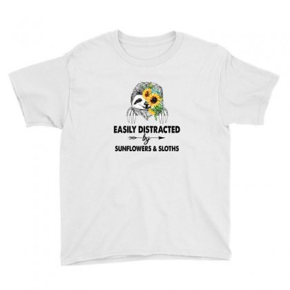 Easily Distracted By Sunflowers And Sloths Youth Tee Designed By Hoainv