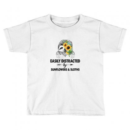 Easily Distracted By Sunflowers And Sloths Toddler T-shirt Designed By Hoainv