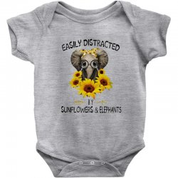 easily distracted by sunflowers and elephants Baby Bodysuit | Artistshot