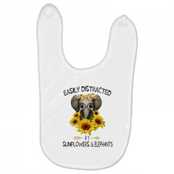easily distracted by sunflowers and elephants Baby Bibs | Artistshot