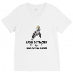 easily distracted by sunflower and turtles V-Neck Tee | Artistshot
