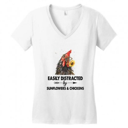 Easily Distracted By Sunflower And Chickens Women's V-neck T-shirt Designed By Hoainv