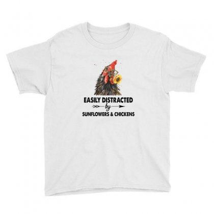 Easily Distracted By Sunflower And Chickens Youth Tee Designed By Hoainv