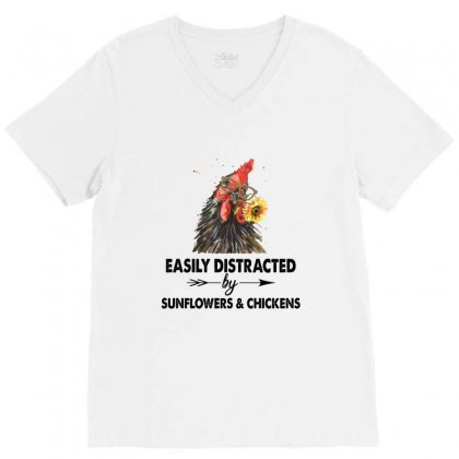 Easily Distracted By Sunflower And Chickens V-neck Tee Designed By Hoainv