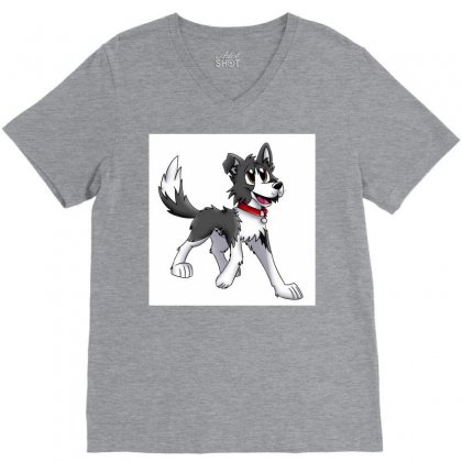 Border Collie 1457986758qll V-neck Tee Designed By Cduggan