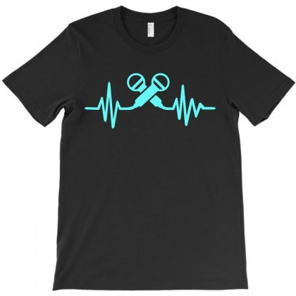 Microphone Heartbeat T-shirt Designed By Sabriacar